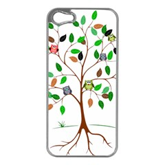 Tree Root Leaves Owls Green Brown Apple iPhone 5 Case (Silver)