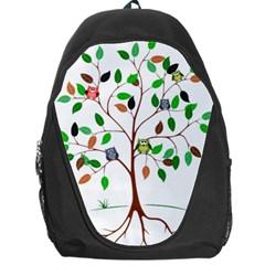 Tree Root Leaves Owls Green Brown Backpack Bag