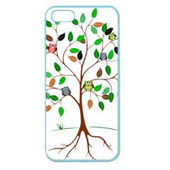 Tree Root Leaves Owls Green Brown Apple Seamless iPhone 5 Case (Color)