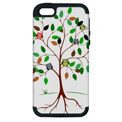 Tree Root Leaves Owls Green Brown Apple iPhone 5 Hardshell Case (PC+Silicone)