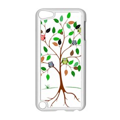 Tree Root Leaves Owls Green Brown Apple Ipod Touch 5 Case (white)
