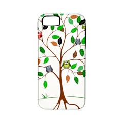 Tree Root Leaves Owls Green Brown Apple iPhone 5 Classic Hardshell Case (PC+Silicone)