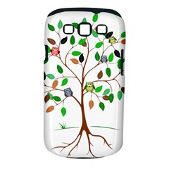 Tree Root Leaves Owls Green Brown Samsung Galaxy S III Classic Hardshell Case (PC+Silicone)
