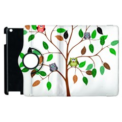 Tree Root Leaves Owls Green Brown Apple iPad 2 Flip 360 Case