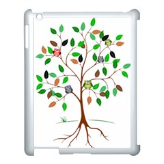 Tree Root Leaves Owls Green Brown Apple iPad 3/4 Case (White)