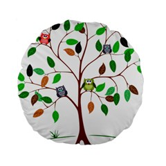 Tree Root Leaves Owls Green Brown Standard 15  Premium Round Cushions