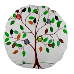 Tree Root Leaves Owls Green Brown Large 18  Premium Round Cushions