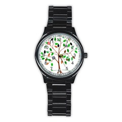Tree Root Leaves Owls Green Brown Stainless Steel Round Watch