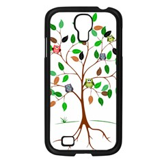 Tree Root Leaves Owls Green Brown Samsung Galaxy S4 I9500/ I9505 Case (Black)