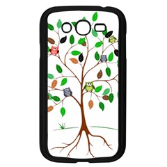 Tree Root Leaves Owls Green Brown Samsung Galaxy Grand Duos I9082 Case (black)