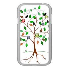 Tree Root Leaves Owls Green Brown Samsung Galaxy Grand DUOS I9082 Case (White)