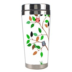 Tree Root Leaves Owls Green Brown Stainless Steel Travel Tumblers