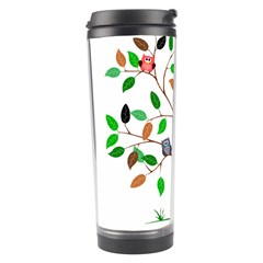 Tree Root Leaves Owls Green Brown Travel Tumbler