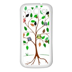 Tree Root Leaves Owls Green Brown Samsung Galaxy S3 Back Case (White)