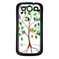 Tree Root Leaves Owls Green Brown Samsung Galaxy S3 Back Case (Black)