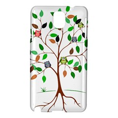 Tree Root Leaves Owls Green Brown Samsung Galaxy Note 3 N9005 Hardshell Case