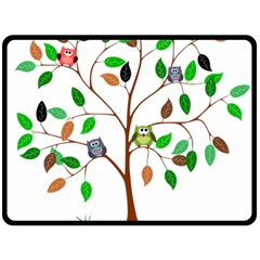 Tree Root Leaves Owls Green Brown Double Sided Fleece Blanket (Large)