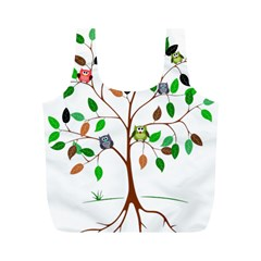 Tree Root Leaves Owls Green Brown Full Print Recycle Bags (M)