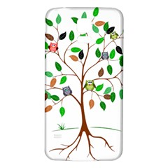 Tree Root Leaves Owls Green Brown Samsung Galaxy S5 Back Case (White)