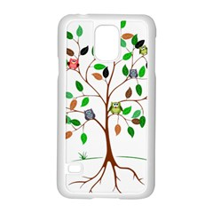 Tree Root Leaves Owls Green Brown Samsung Galaxy S5 Case (White)