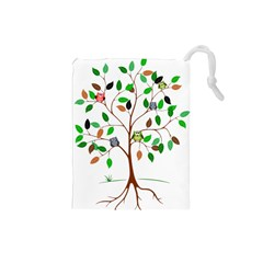 Tree Root Leaves Owls Green Brown Drawstring Pouches (Small)
