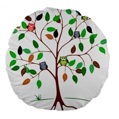 Tree Root Leaves Owls Green Brown Large 18  Premium Flano Round Cushions