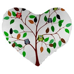 Tree Root Leaves Owls Green Brown Large 19  Premium Flano Heart Shape Cushions