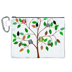 Tree Root Leaves Owls Green Brown Canvas Cosmetic Bag (XL)