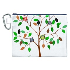 Tree Root Leaves Owls Green Brown Canvas Cosmetic Bag (XXL)
