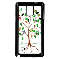 Tree Root Leaves Owls Green Brown Samsung Galaxy Note 4 Case (Black)