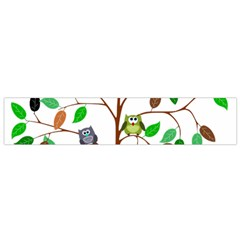 Tree Root Leaves Owls Green Brown Flano Scarf (Small)