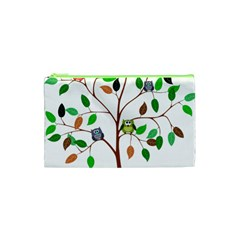 Tree Root Leaves Owls Green Brown Cosmetic Bag (XS)
