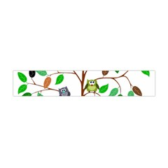 Tree Root Leaves Owls Green Brown Flano Scarf (Mini)