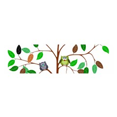 Tree Root Leaves Owls Green Brown Satin Scarf (oblong)