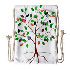 Tree Root Leaves Owls Green Brown Drawstring Bag (Large)