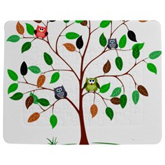 Tree Root Leaves Owls Green Brown Jigsaw Puzzle Photo Stand (Rectangular)