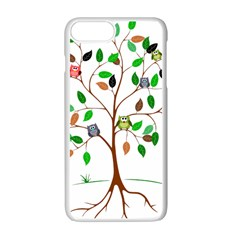 Tree Root Leaves Owls Green Brown Apple iPhone 7 Plus White Seamless Case