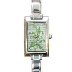 On Wood May Lily Of The Valley Rectangle Italian Charm Watch