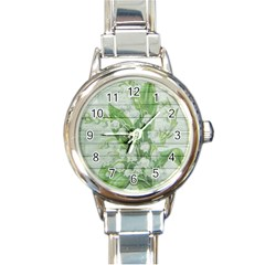 On Wood May Lily Of The Valley Round Italian Charm Watch