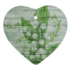 On Wood May Lily Of The Valley Ornament (heart)
