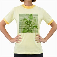 On Wood May Lily Of The Valley Women s Fitted Ringer T-Shirts