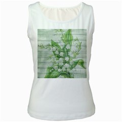 On Wood May Lily Of The Valley Women s White Tank Top