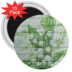 On Wood May Lily Of The Valley 3  Magnets (10 Pack)