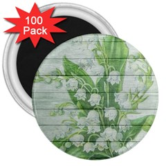 On Wood May Lily Of The Valley 3  Magnets (100 pack)