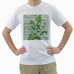 On Wood May Lily Of The Valley Men s T-Shirt (White) (Two Sided)