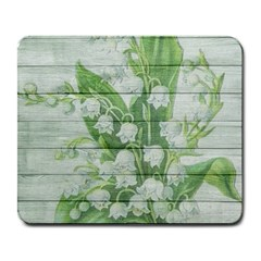 On Wood May Lily Of The Valley Large Mousepads