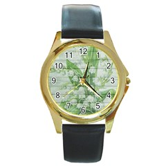 On Wood May Lily Of The Valley Round Gold Metal Watch