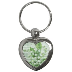 On Wood May Lily Of The Valley Key Chains (heart)
