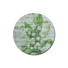 On Wood May Lily Of The Valley Rubber Round Coaster (4 Pack)
