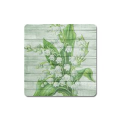 On Wood May Lily Of The Valley Square Magnet